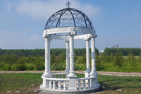Outdoor Garden Ornament hand carved white stone gazebo