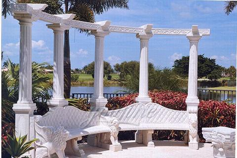 Outdoor garden decorative marble gazebo with bench
