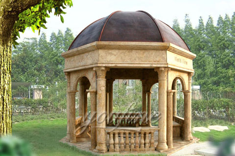 Popular roman column marble carving garden luxury gazebo